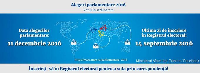 Înscrierea în Registrul electoral se va putea realiza până la data de 14 septembrie 2016 orele 24 00