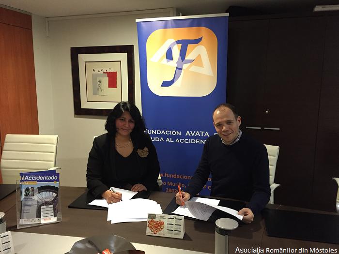Acord de colaborare între Asociaţia Românilor din Móstoles şi Fundaţia Avata (de Ajutorare a Victimelor Accidentelor de Trafic)