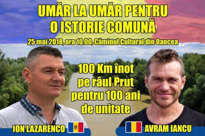 Avram Iancu şi Ion Lazarenco Tiron vor înota împreună 100 de km pe Prut