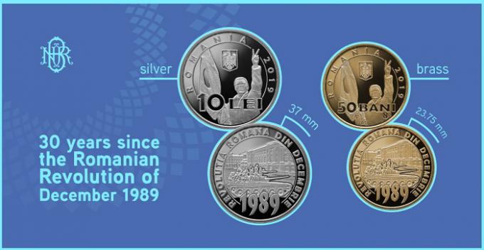 BNR lansează în circulaţie o monedă din alamă cu tema 30 de ani de la Revoluţia Română din Decembrie 1989