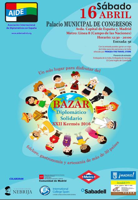 Bazar Solidario Diplomático - 16 de abril, en el Palacio Municipal de Congresos de Madrid