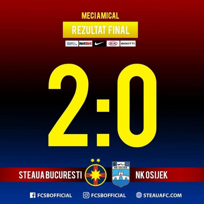 Fotbal: FCSB a încheiat stagiul din Spania cu o victorie, 2-0 cu NK Osijek