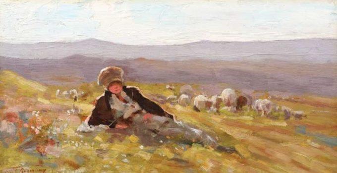 """Lucrarea """"Ciobănaş cu turma de oi"""" de Nicolae Grigorescu, adjudecată la 40.000 de euro"""
