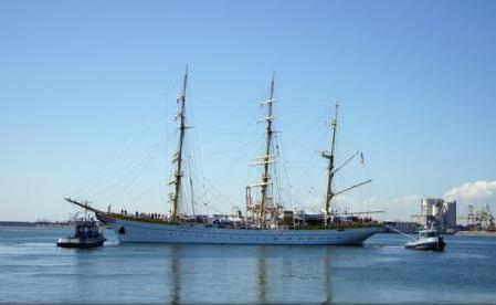 Nava-școală ''Mircea'', escală în portul Palma de Mallorca; etapa de instruire a cadeților germani s-a încheiat