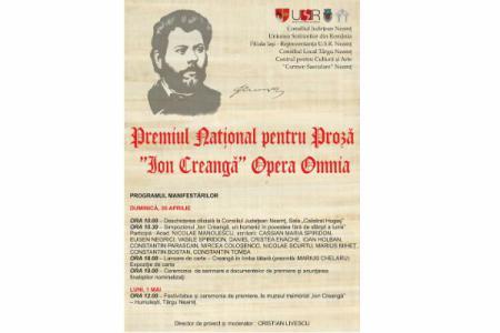 """Neamț: Premiul Național pentru Proză """"Ion Creangă"""" va marca 180 ani de la nașterea marelui scriitor"""