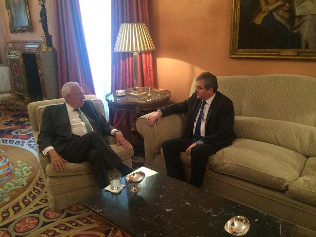 Primirea ambasadorului român de către ministrul spaniol de Afaceri Externe, în vizită de rămas-bun, cu ocazia finalizării mandatului în Spania