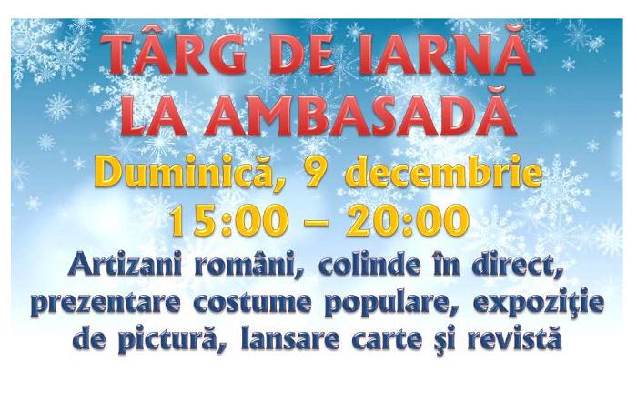 Târg de Iarnă şi evenimente culturale la Ambasada României la Madrid, pe 9 decembrie