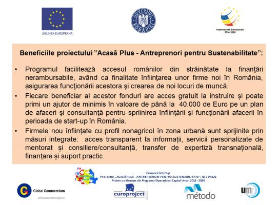 """A fost lansat proiectul """"Acasă Plus – Antreprenori pentru Sustenabilitate"""""""