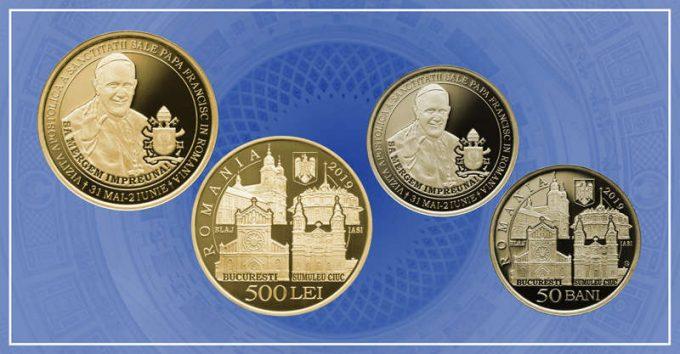 BNR a lansat o monedă cu tema Vizita Apostolică a Sanctităţii Sale Papa Francisc în România