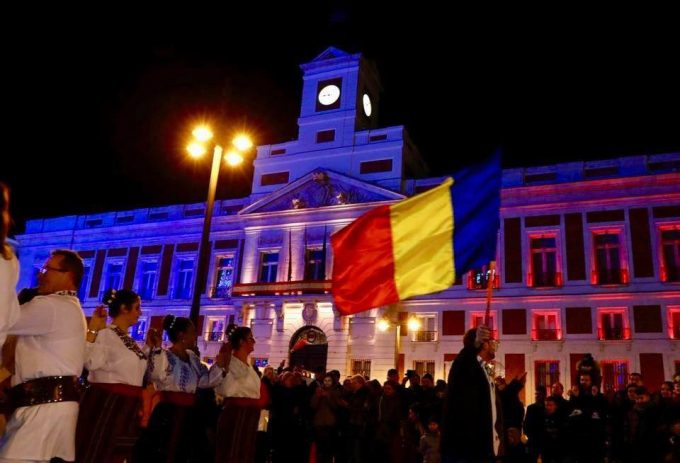 VIDEO: Centenarul Marii Uniri, sărbătorit de Ambasada României la Madrid, la Puerta del Sol