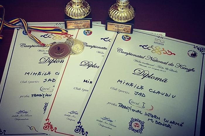 Claudiu Mihăilă a câștigat 2 medalii de AUR la Campionatul Național de KUNG FU din București