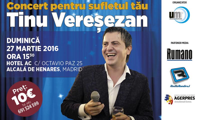 Concert Tinu Vereșezan – un concert extraordinar pentru sufletul tău!