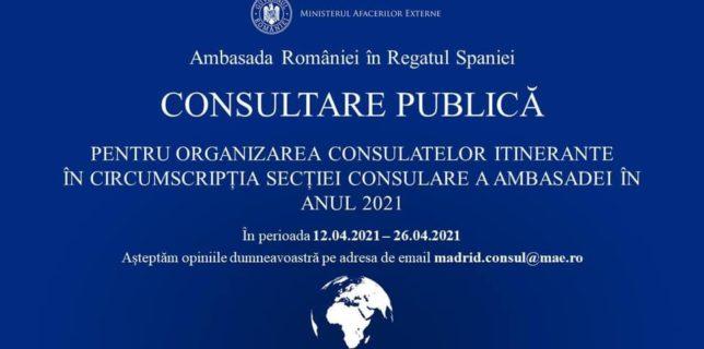 Consultare publică pentru organizarea consulatelor itinerante în circumscripția Secției consulare a ambasadei