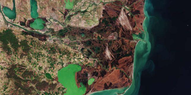 ESA a publicat o fotografie de înaltă rezoluţie a Deltei Dunării, realizată de misiunea Copernicus Sentinel-2
