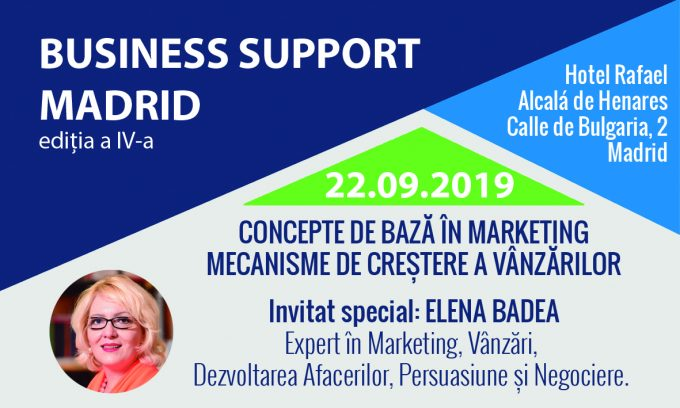 EVENIMENT, 22 septembrie 2019, ora 10:00: A patra ediție Business Support Madrid!