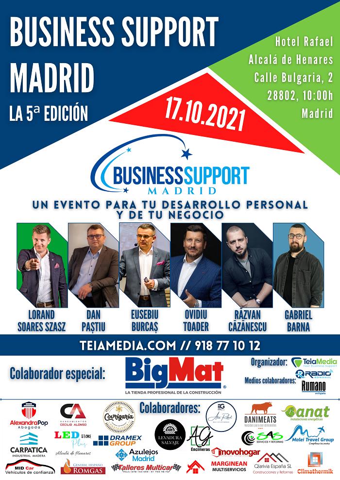 EVENTO 17 Octubre 2021 10-00h BUSINESS SUPPORT MADRID - LA 5ª EDICIÓN - cartel colaboradores