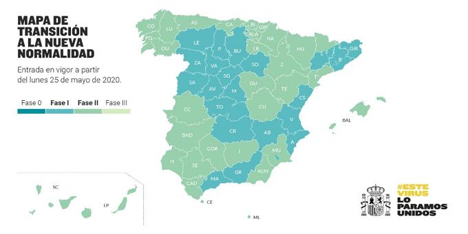 España: Mapa de transición a la nueva normalidad - Fase 1 y Fase 2