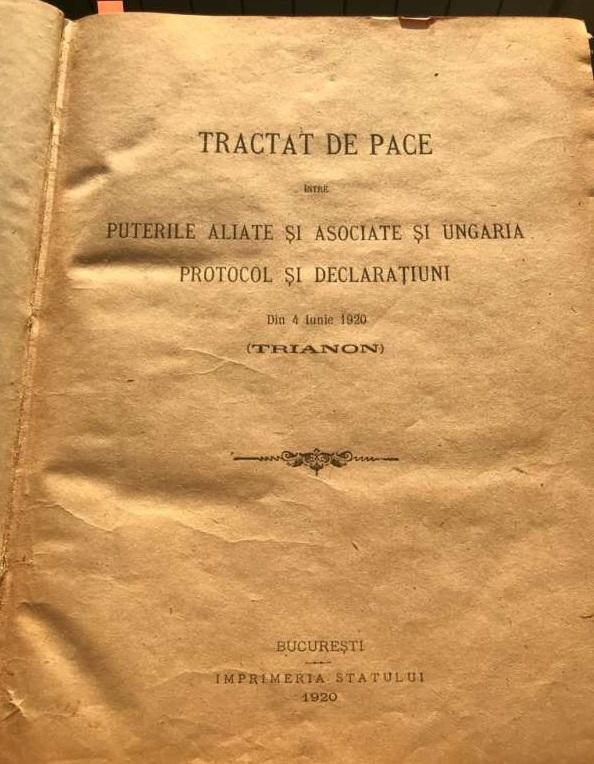 Hunedoara: Varianta originală a Tratatului de la Trianon poate ajunge gratuit la orice român, în format digital