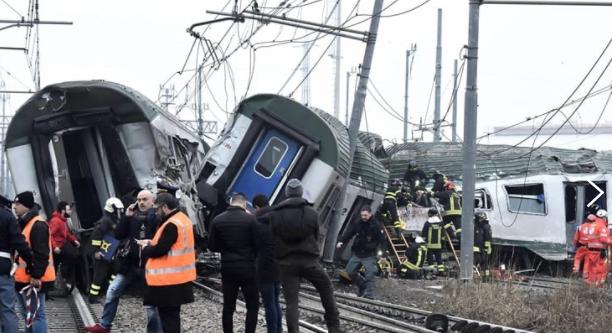 Italia: Cel puţin trei morţi şi circa 100 răniţi după deraierea unui tren în apropiere de Milano