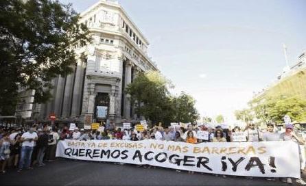 Mii de oameni au manifestat la Madrid în favoarea primirii refugiaților în Spania