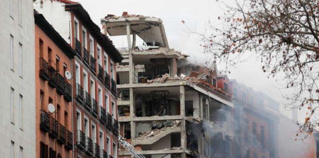 O puternică explozie a provocat prăbuşirea parţială a unei clădiri din centrul Madridului