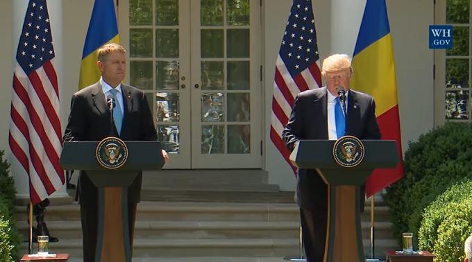 VIDEO: Preşedintele Klaus Iohannis a susținut o declaraţie de presă comună cu preşedintele SUA Donald Trump