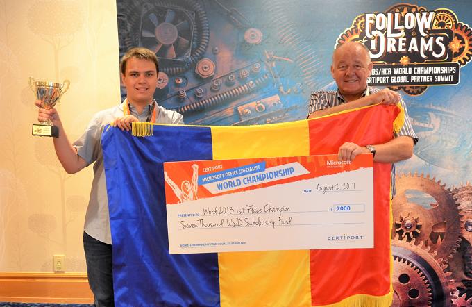 Premieră: Un elev român a obținut în SUA locul I și titlul de campion Microsoft Word 2017