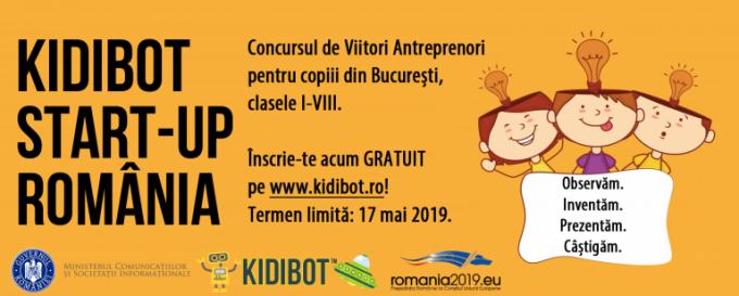 """Prima ediţie a concursului de antreprenoriat pentru copii """"Kidibot Start-Up România"""""""