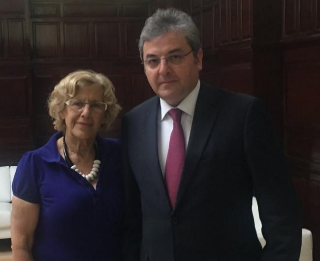 Primirea ambasadorului român de către Primarul Madridului, dna. Manuela Carmena, în vizită de rămas bun, cu ocazia finalizării mandatului în Spania