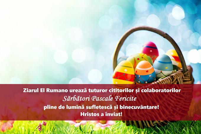 Redacția Ziarului El Rumano vă urează Sărbători Pascale Fericite! Hristos a înviat!