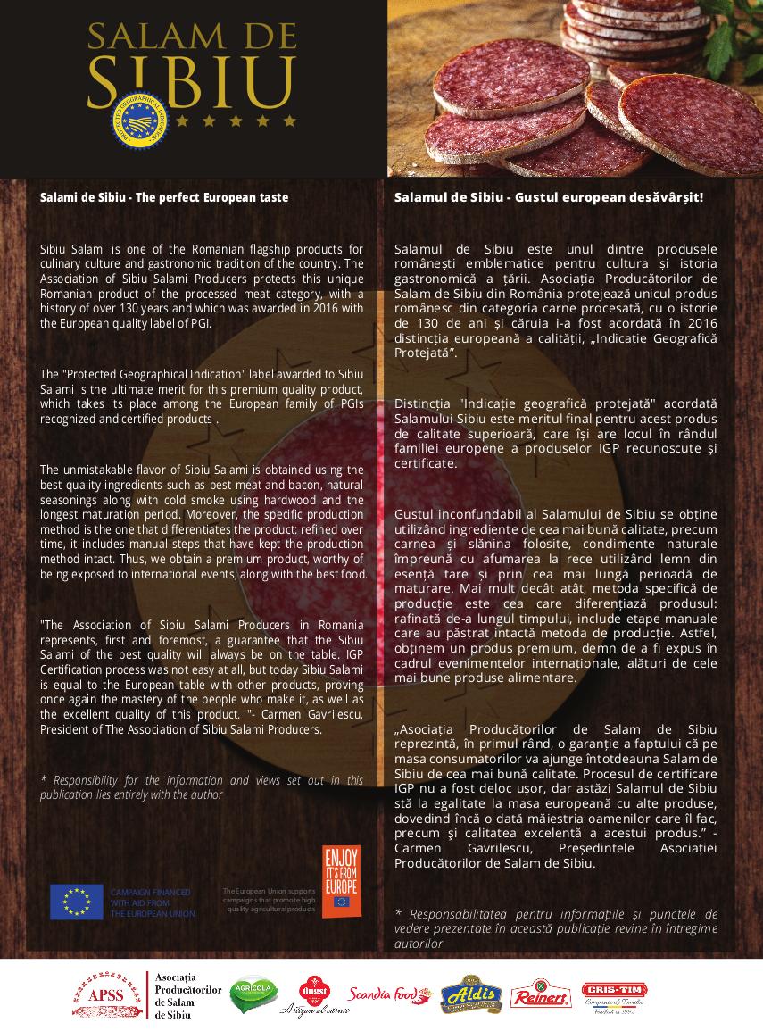 Salamul de Sibiu - Indicaţie Geografică Protejată - Gust European desăvârşit-poster