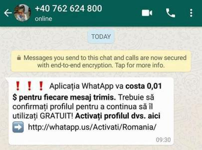 Utilizatorii serviciului de mesagerie WhatsApp, atenționați asupra unei campanii de phishing derulată de către infractorii cibernetici