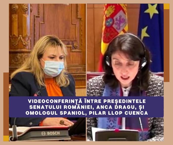 Videoconferința președintelui Senatului României, Anca Dragu, cu omologul spaniol, Pilar Llop Cuenca