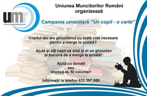 """Uniunea Muncitorilor Români organizează Campania umanitară """"Un copil – o carte"""""""
